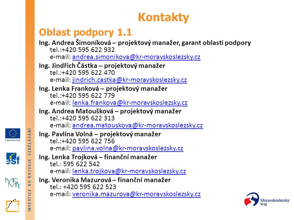 Kontakty Oblast podpory 1.1