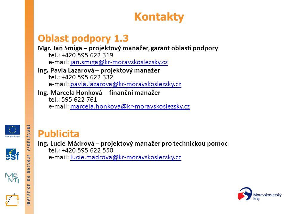 Kontakty Oblast podpory 1.3 Publicita