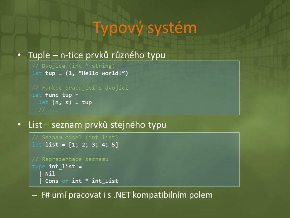 Typový systém Tuple – n-tice prvků různého typu