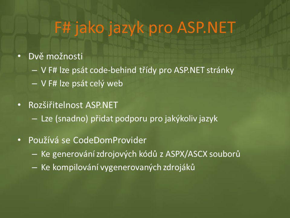 F# jako jazyk pro ASP.NET