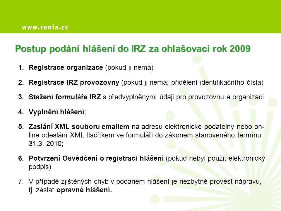 Postup podání hlášení do IRZ za ohlašovací rok 2009