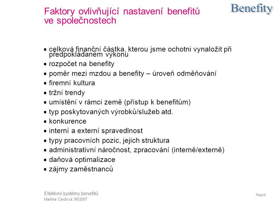 Oblasti / skupiny benefitů