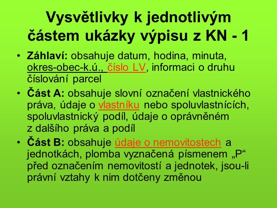 Vysvětlivky k jednotlivým částem ukázky výpisu z KN - 1