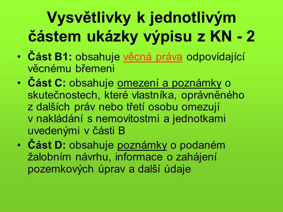 Vysvětlivky k jednotlivým částem ukázky výpisu z KN - 2