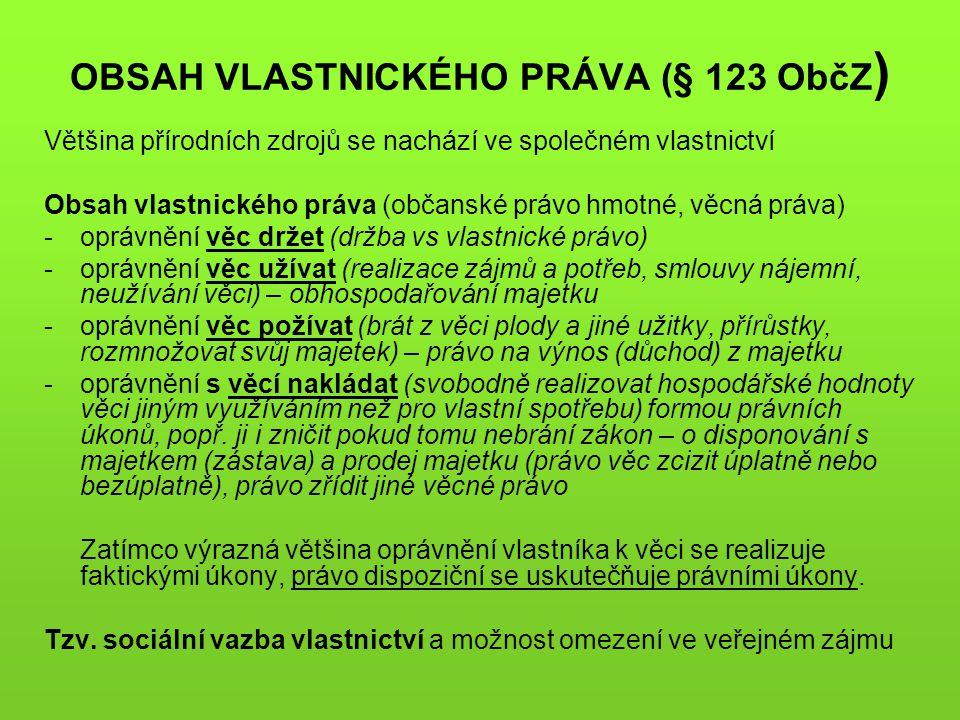 OBSAH VLASTNICKÉHO PRÁVA (§ 123 ObčZ)