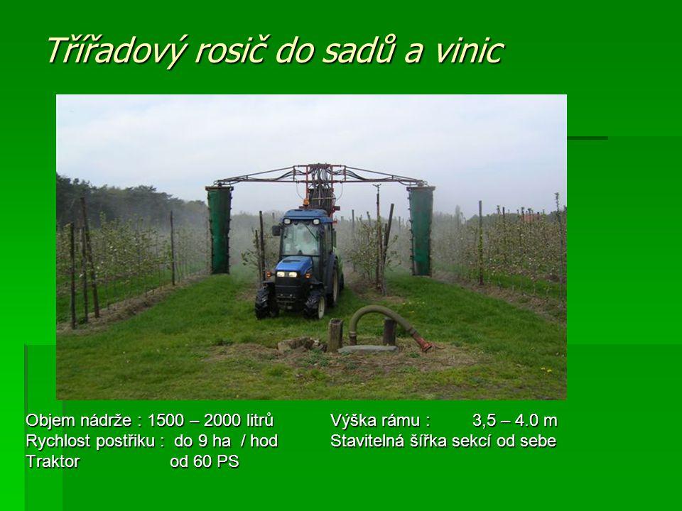 Třířadový rosič do sadů a vinic