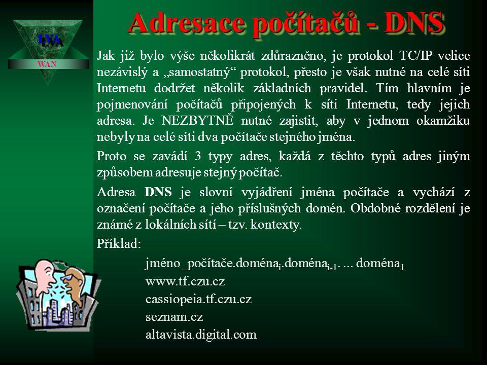 Adresace počítačů - DNS