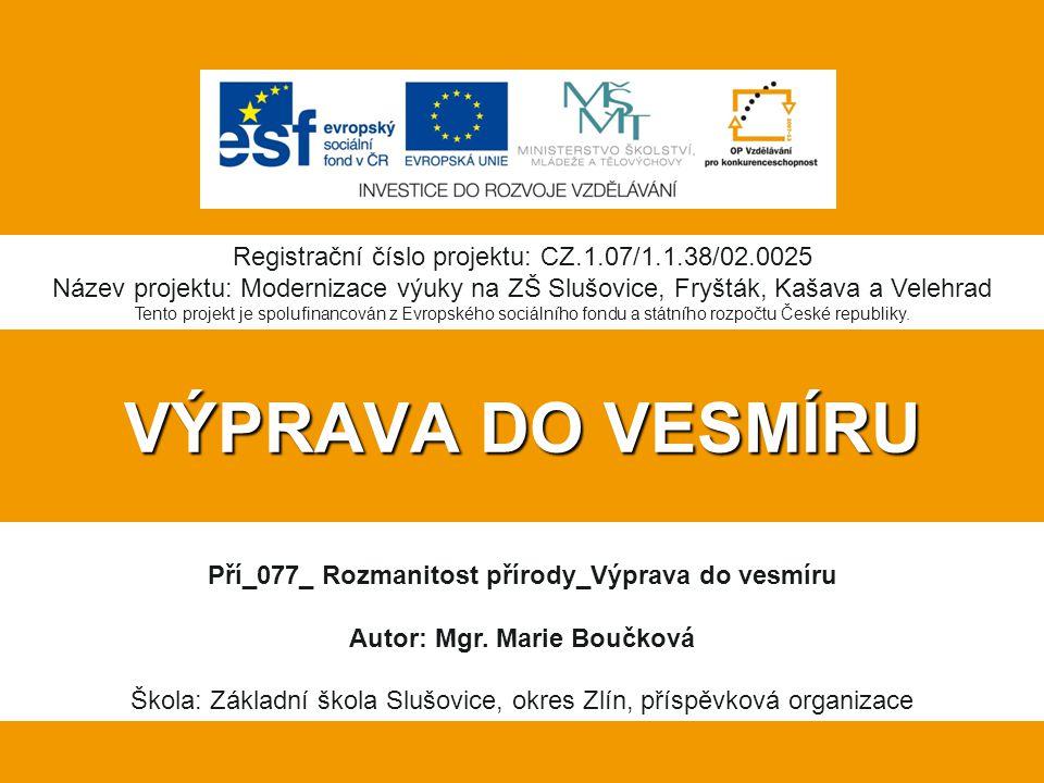 VÝPRAVA DO VESMÍRU Registrační číslo projektu: CZ.1.07/1.1.38/02.0025