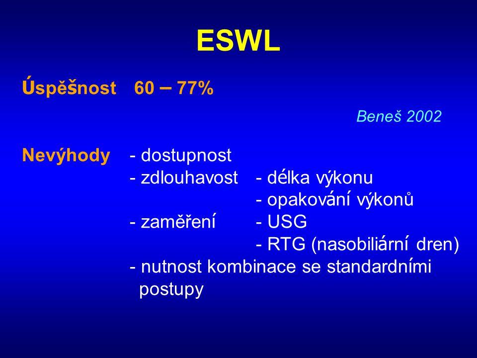 ESWL Úspěšnost 60 – 77% Nevýhody - dostupnost