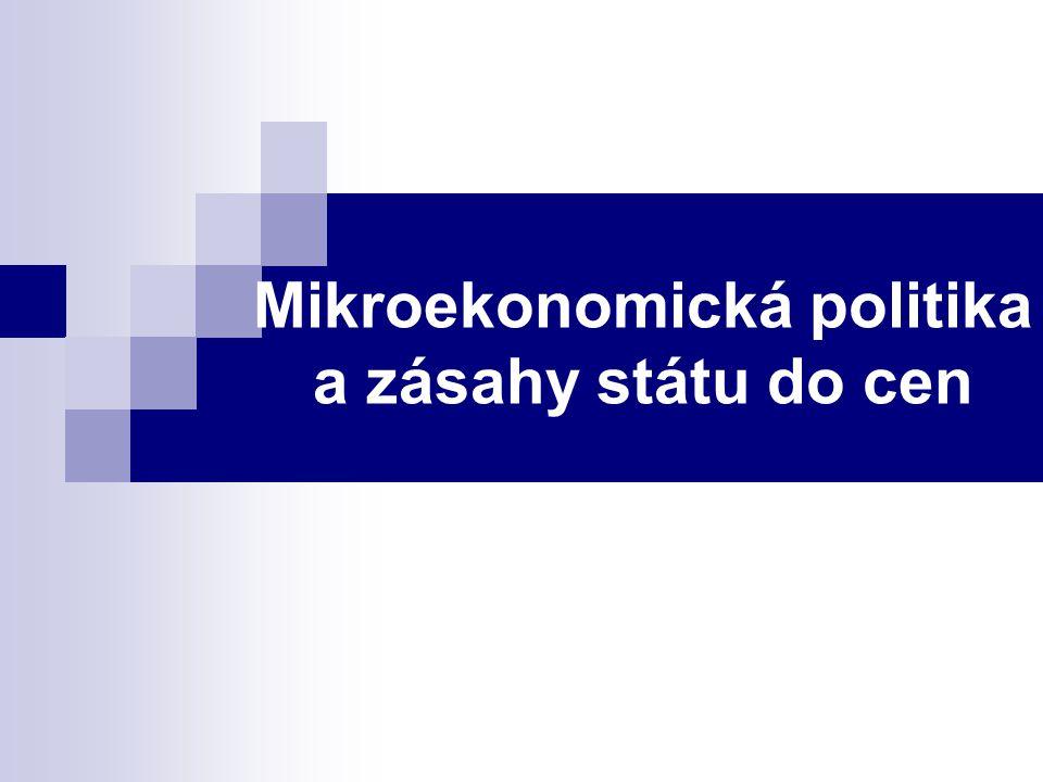 Mikroekonomická politika a zásahy státu do cen