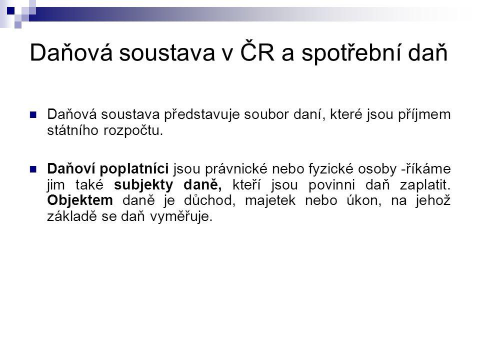 Daňová soustava v ČR a spotřební daň