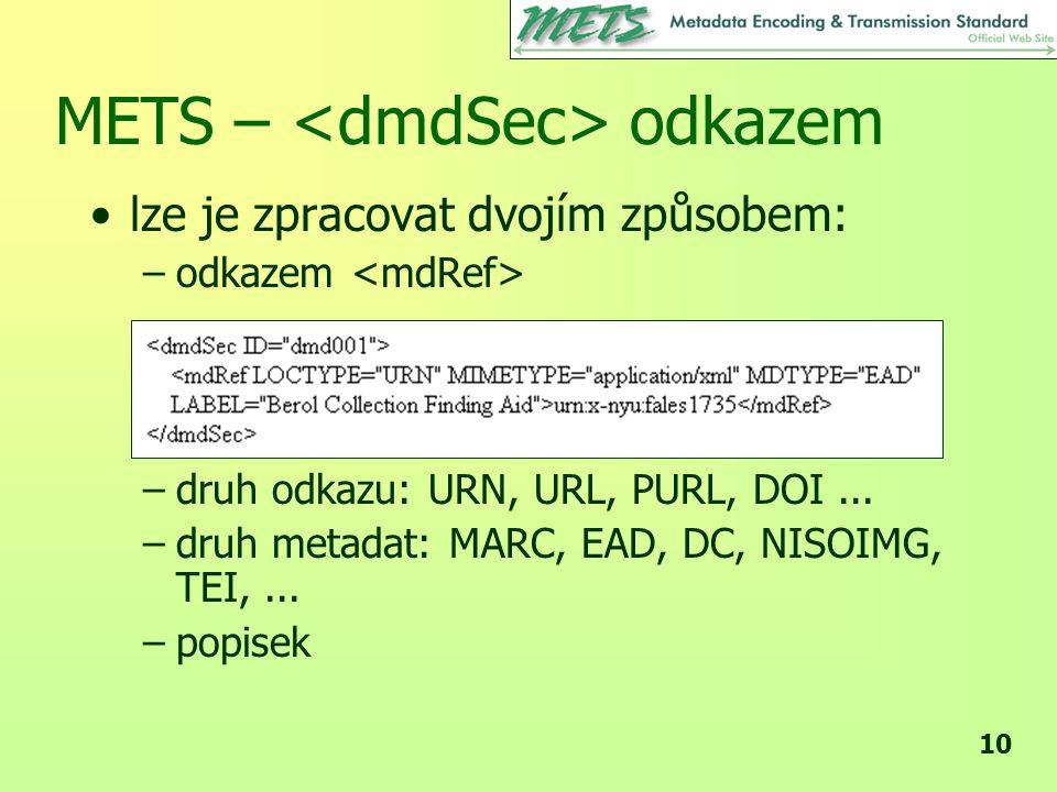 METS – <dmdSec> odkazem