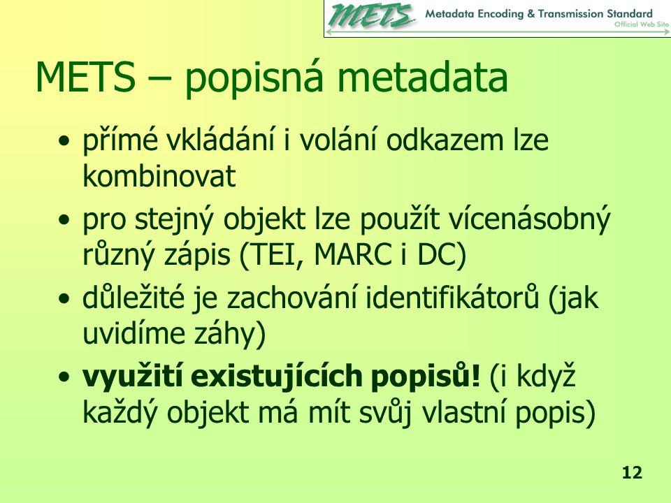 METS – popisná metadata