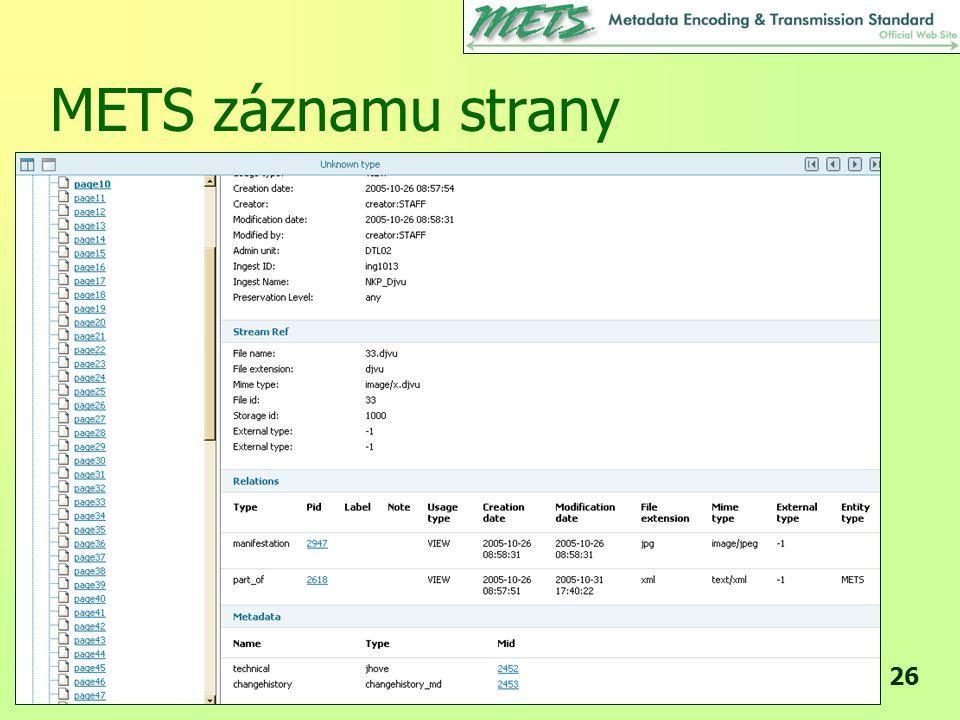METS záznamu strany