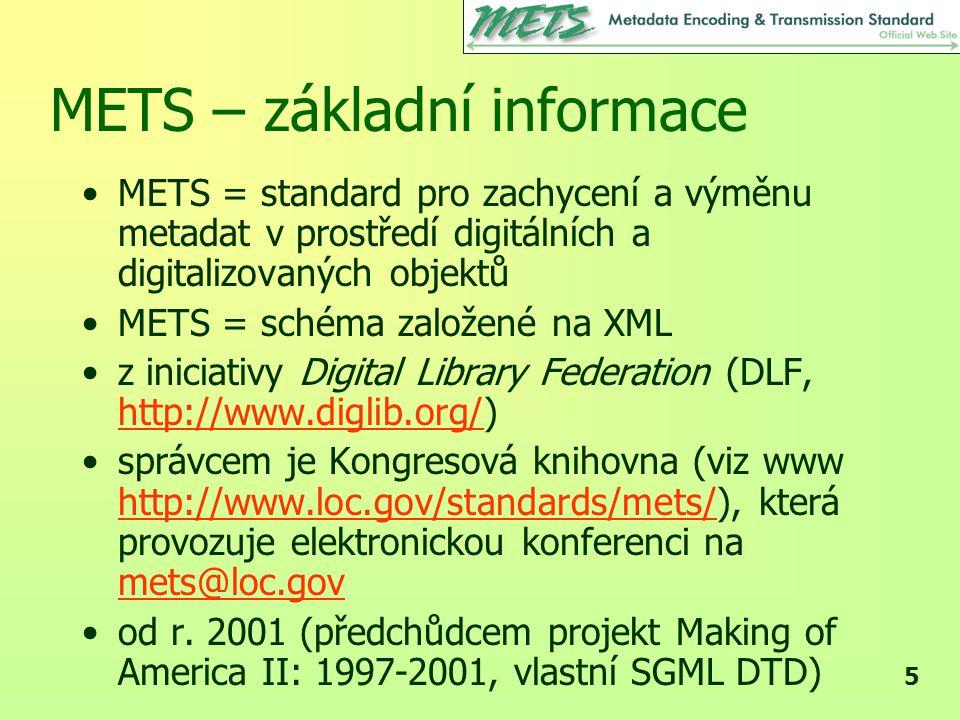 METS – základní informace
