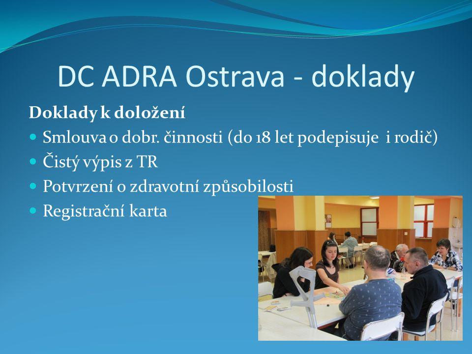 DC ADRA Ostrava - doklady