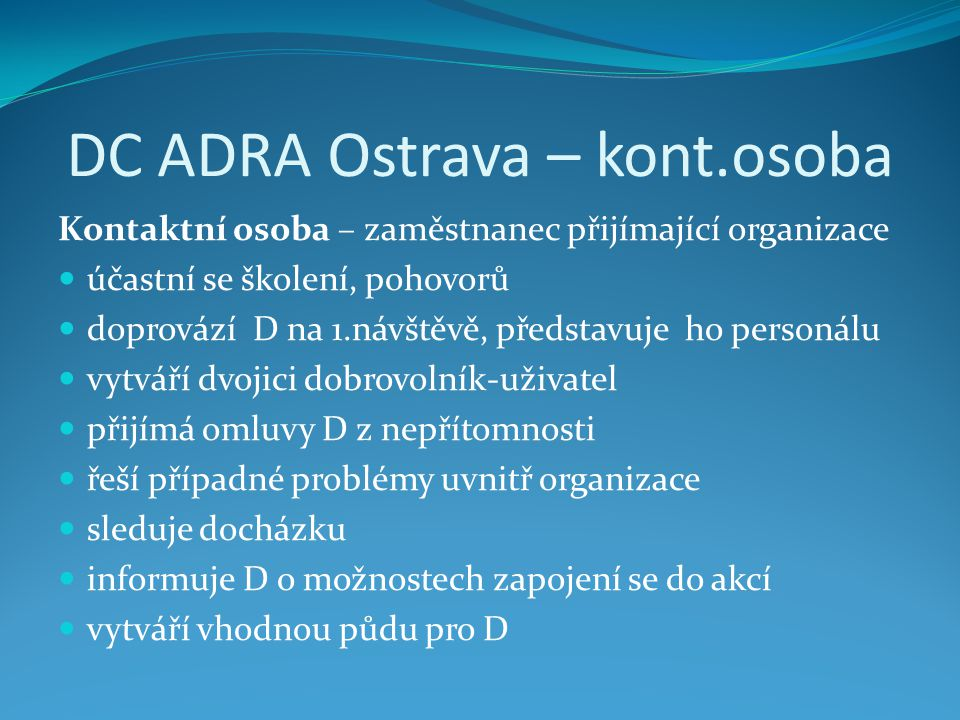 DC ADRA Ostrava – kont.osoba