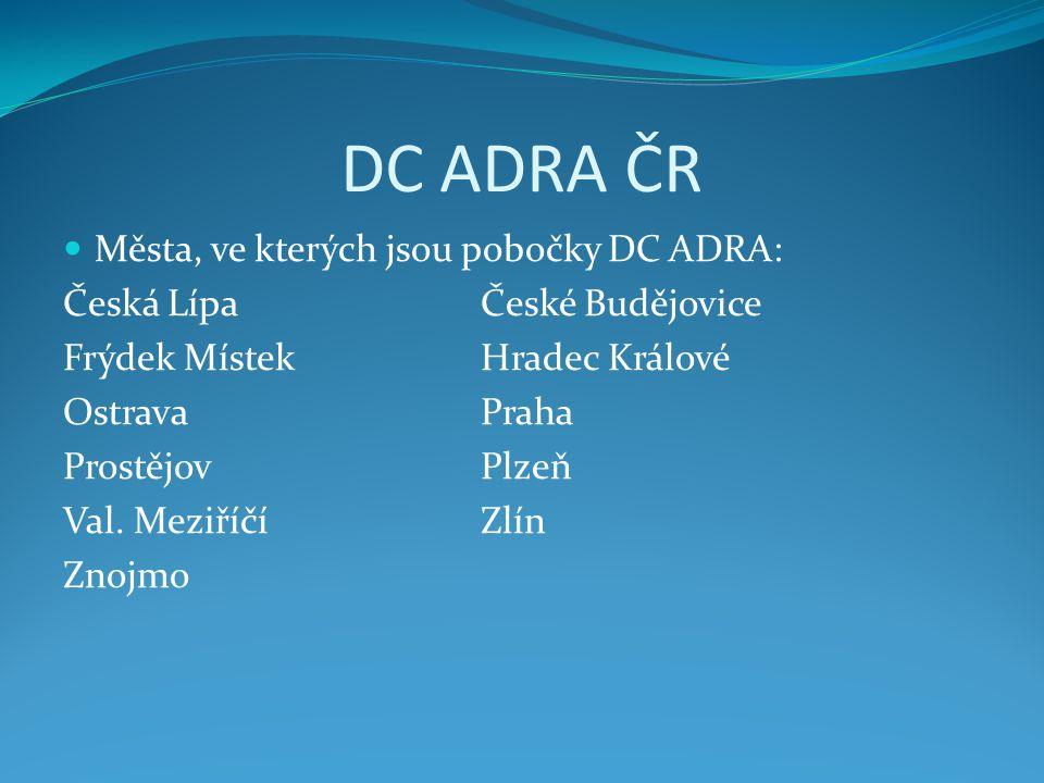 DC ADRA ČR Města, ve kterých jsou pobočky DC ADRA: