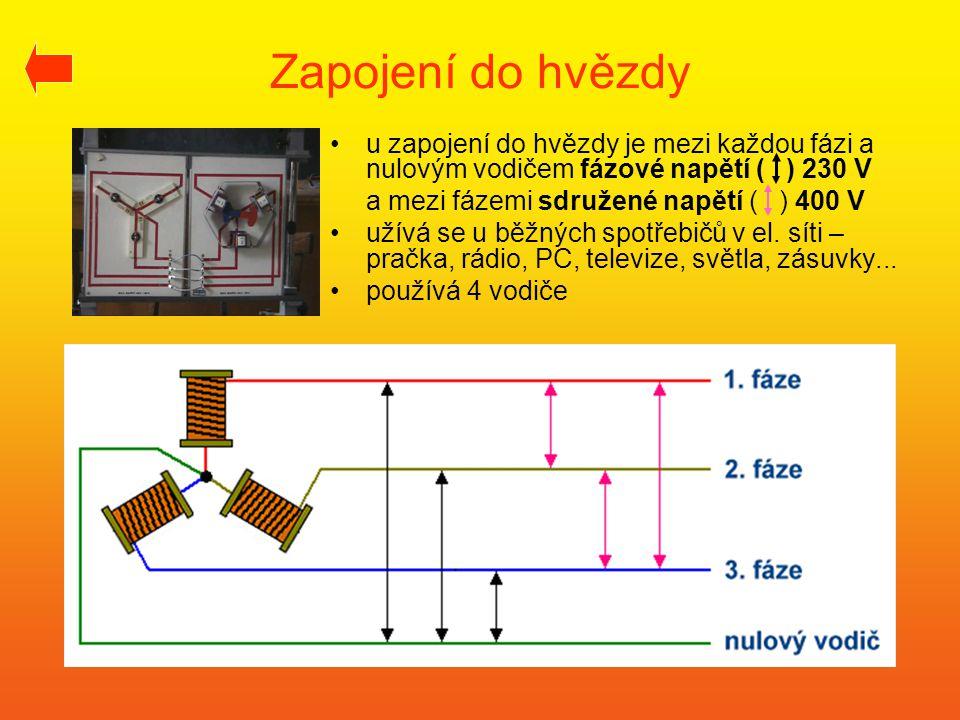 Zapojení do hvězdy u zapojení do hvězdy je mezi každou fázi a nulovým vodičem fázové napětí ( ) 230 V.