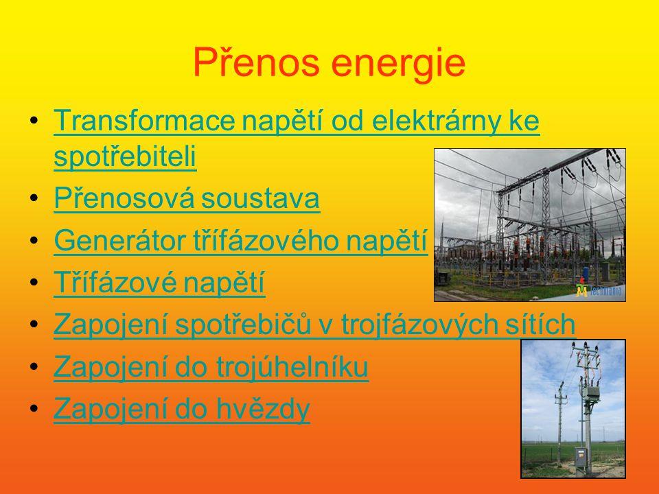 Přenos energie Transformace napětí od elektrárny ke spotřebiteli