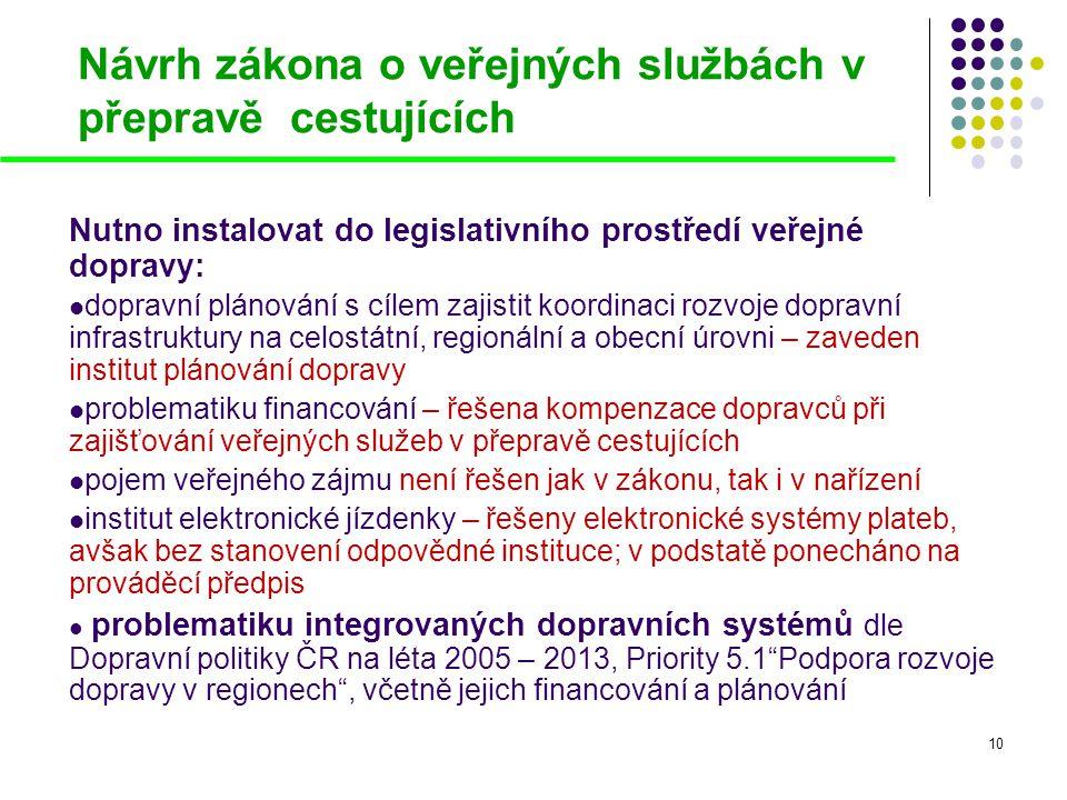 Návrh zákona o veřejných službách v přepravě cestujících