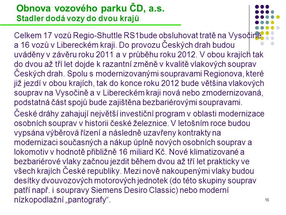 Obnova vozového parku ČD, a.s. Stadler dodá vozy do dvou krajů