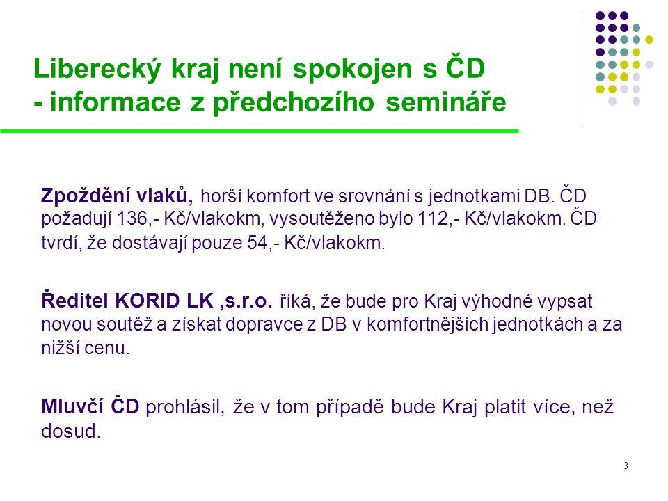 Liberecký kraj není spokojen s ČD - informace z předchozího semináře