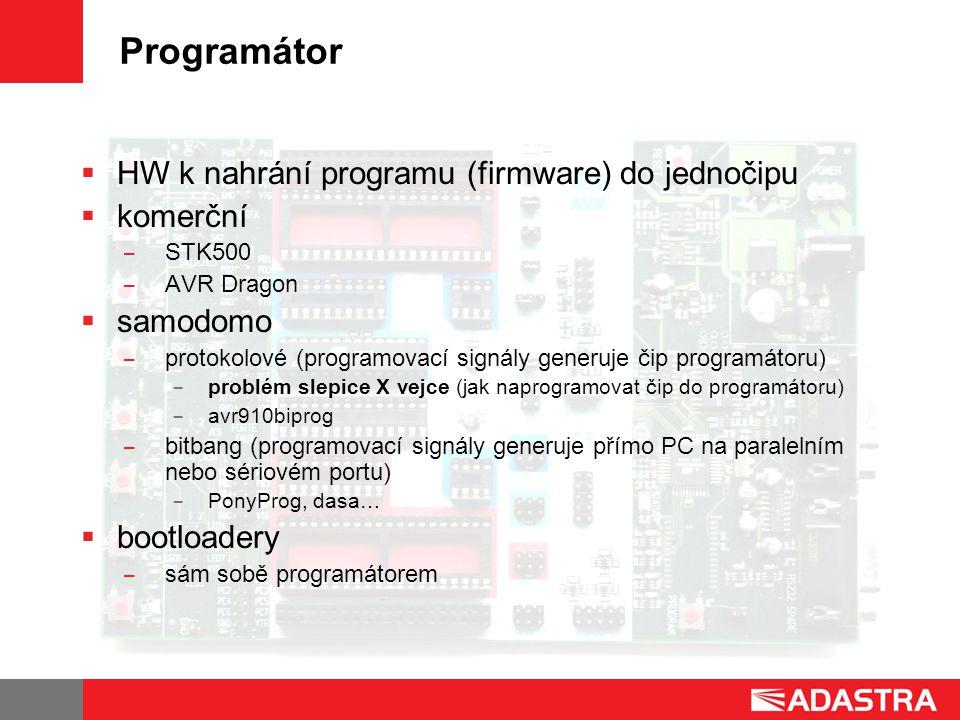 Programátor HW k nahrání programu (firmware) do jednočipu komerční