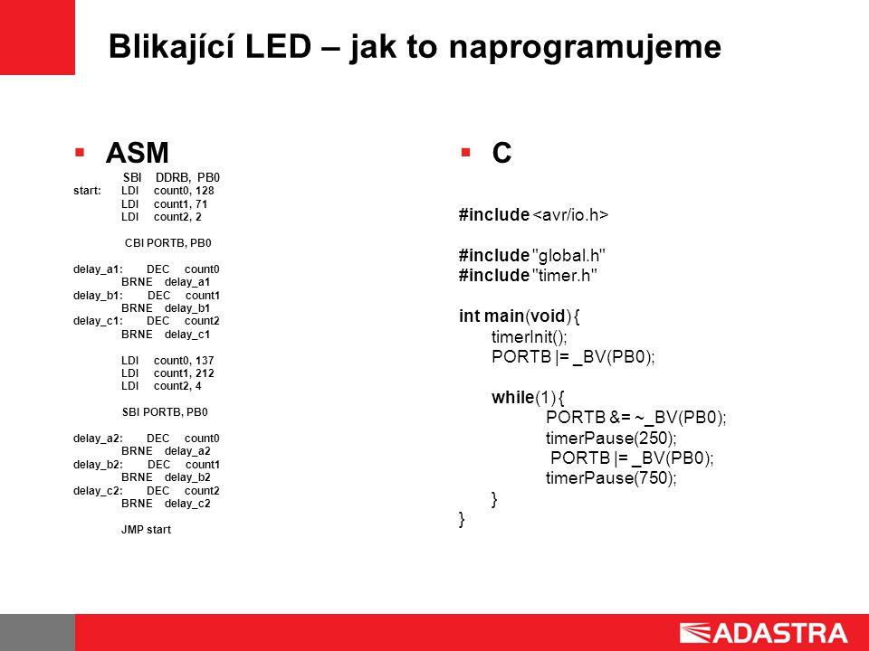 Blikající LED – jak to naprogramujeme