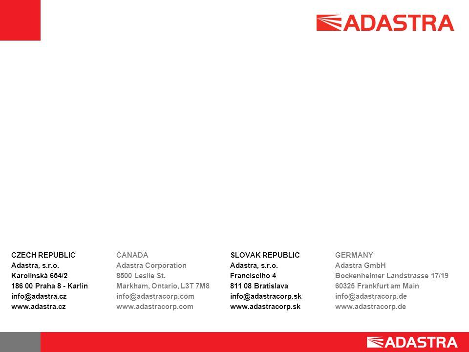 CZECH REPUBLIC Adastra, s.r.o. Karolinská 654/2. 186 00 Praha 8 - Karlín. info@adastra.cz. www.adastra.cz.
