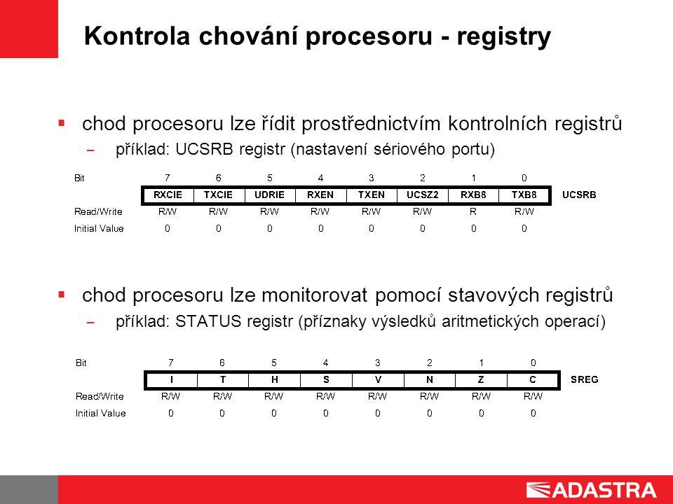 Kontrola chování procesoru - registry