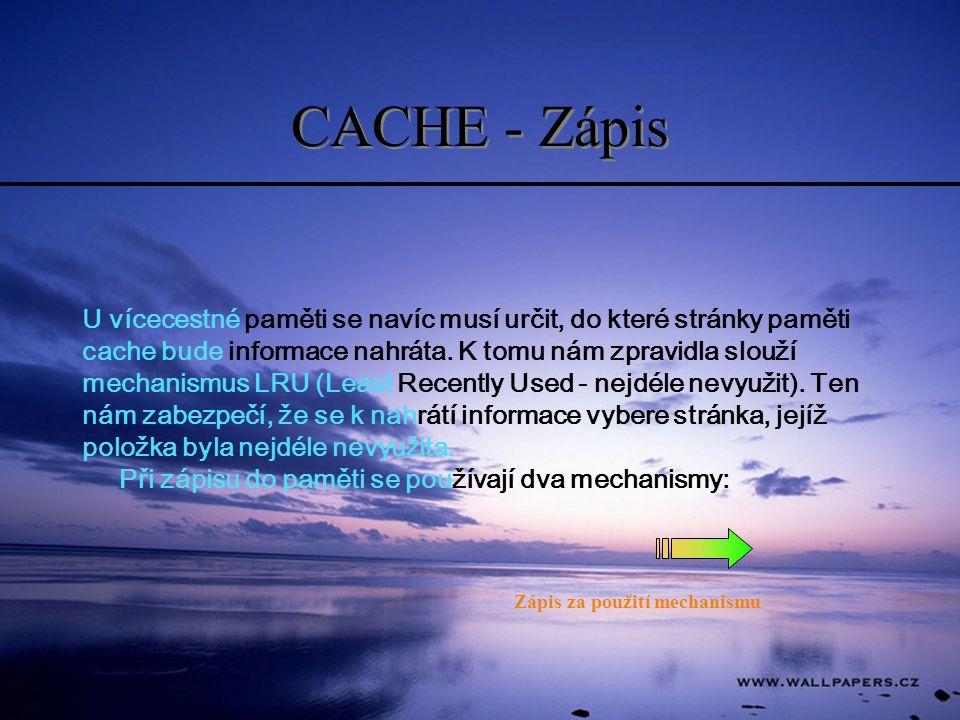 CACHE - Zápis