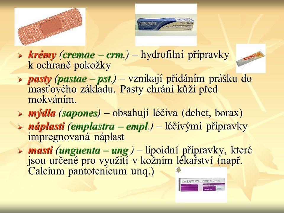 krémy (cremae – crm.) – hydrofilní přípravky k ochraně pokožky