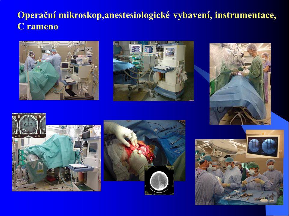 Operační mikroskop,anestesiologické vybavení, instrumentace,