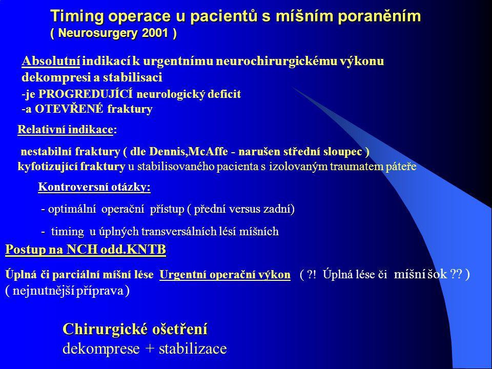 Timing operace u pacientů s míšním poraněním