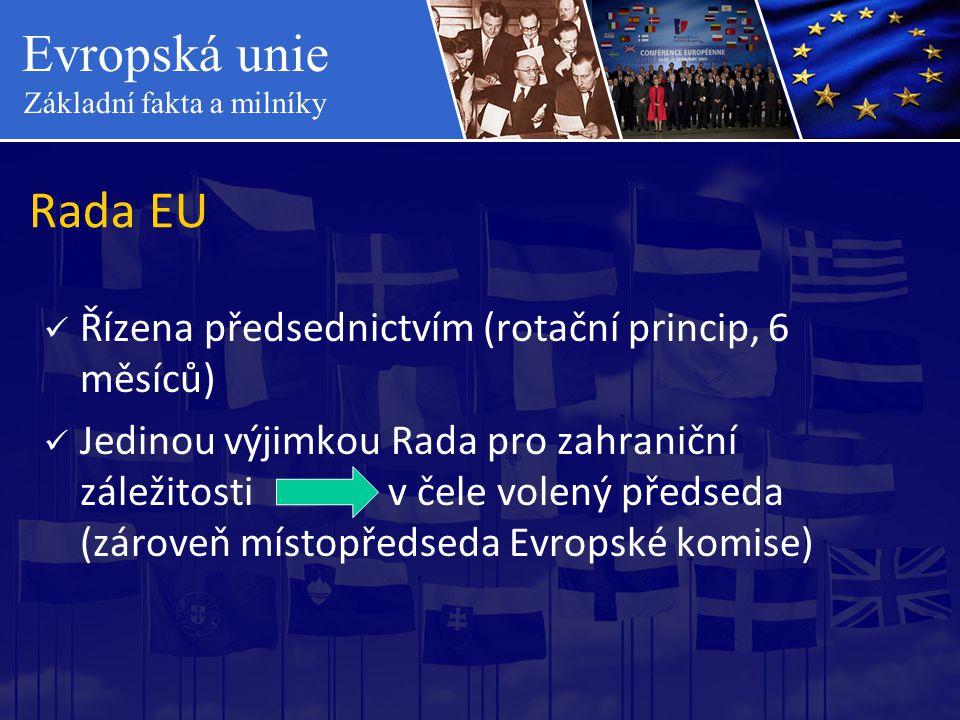 Rada EU Řízena předsednictvím (rotační princip, 6 měsíců)