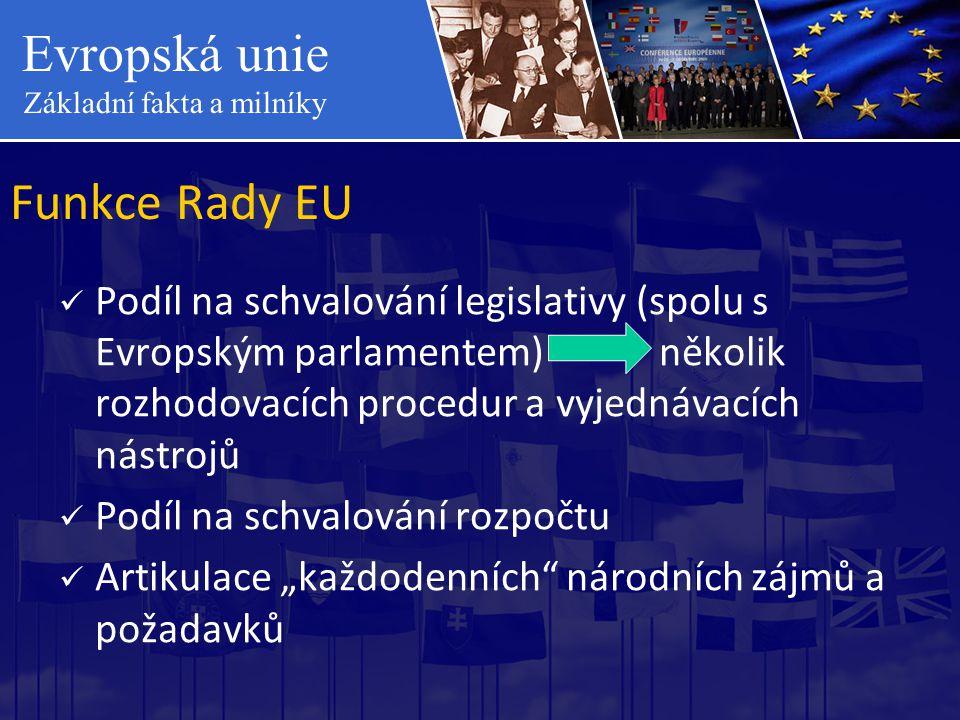 Funkce Rady EU Podíl na schvalování legislativy (spolu s Evropským parlamentem) několik rozhodovacích procedur a vyjednávacích nástrojů.