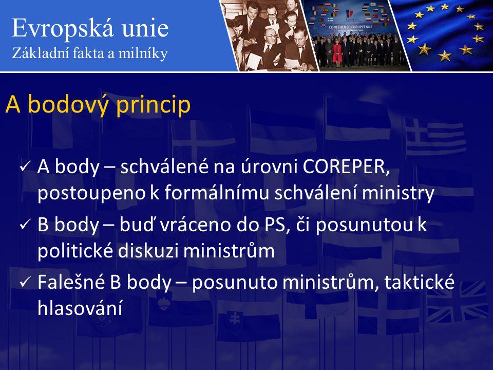 A bodový princip A body – schválené na úrovni COREPER, postoupeno k formálnímu schválení ministry.