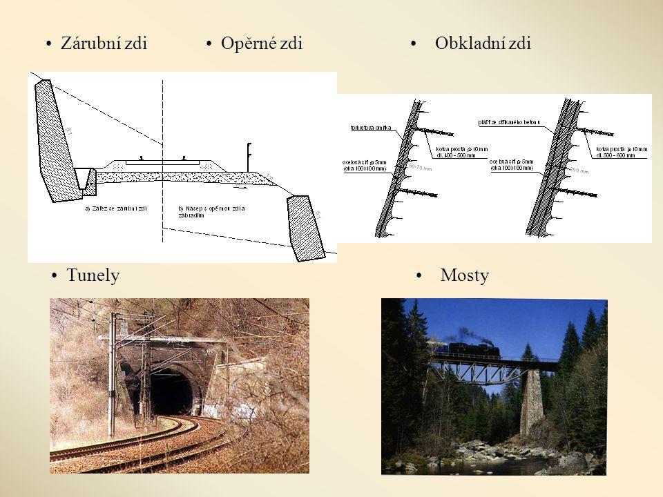 Zárubní zdi Opěrné zdi Obkladní zdi Tunely Mosty