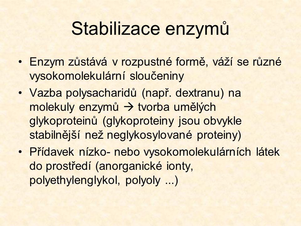 Stabilizace enzymů Enzym zůstává v rozpustné formě, váží se různé vysokomolekulární sloučeniny.