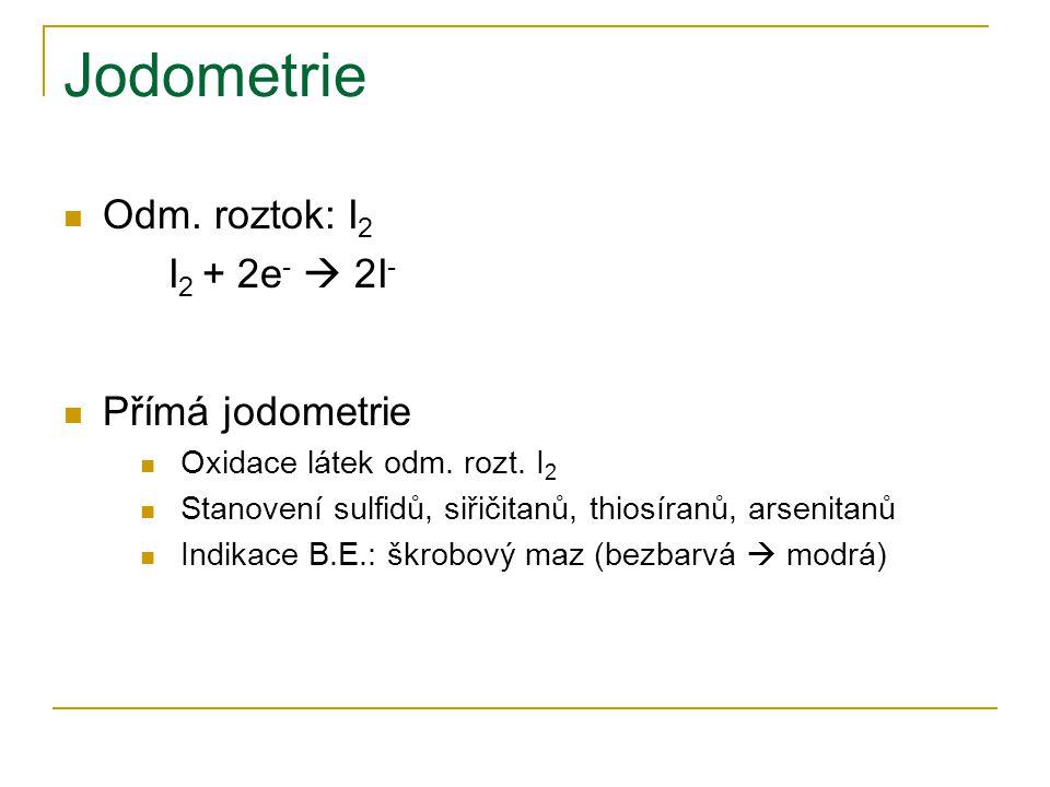 Jodometrie Odm. roztok: I2 I2 + 2e-  2I- Přímá jodometrie
