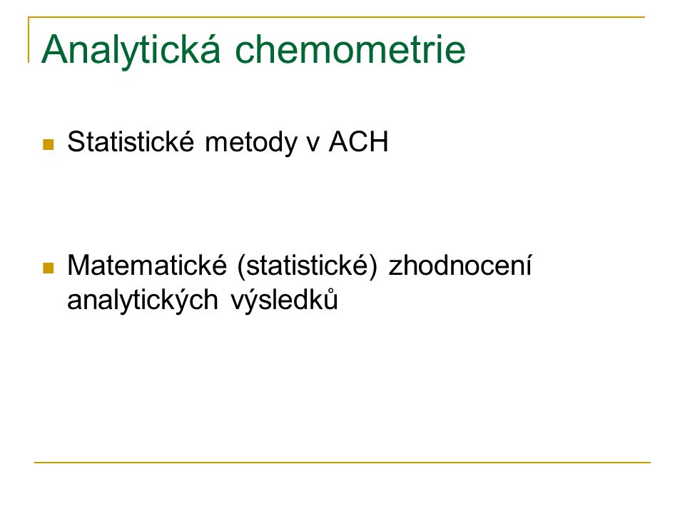 Analytická chemometrie