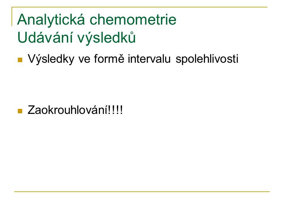 Analytická chemometrie Udávání výsledků