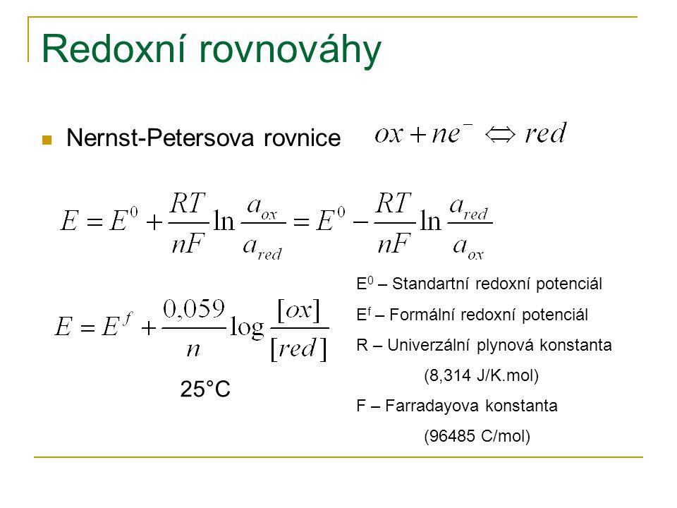 Redoxní rovnováhy Nernst-Petersova rovnice 25°C