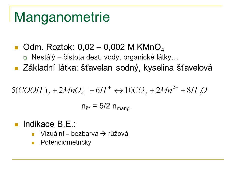 Manganometrie Odm. Roztok: 0,02 – 0,002 M KMnO4