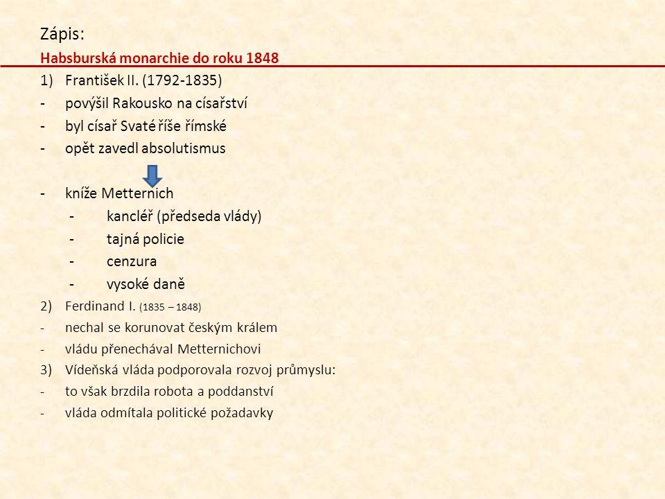 Zápis: Habsburská monarchie do roku 1848 František II. (1792-1835)