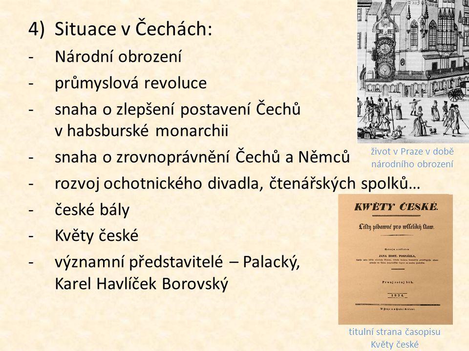 Situace v Čechách: Národní obrození průmyslová revoluce