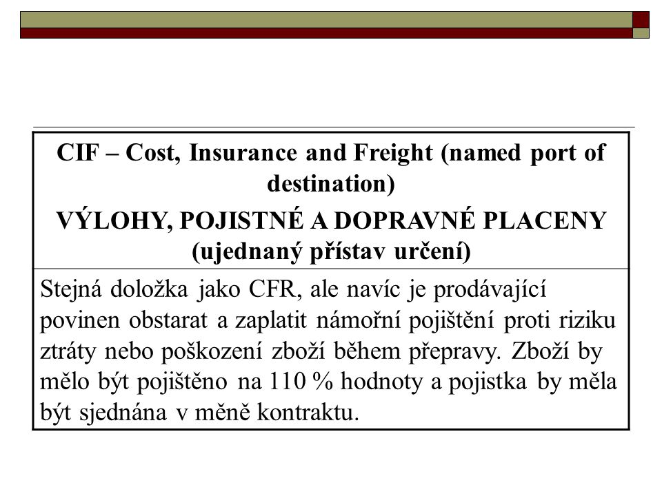 CIF – Cost, Insurance and Freight (named port of destination)