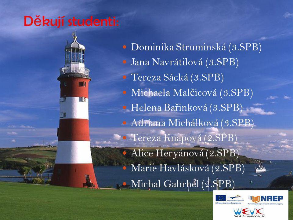 Děkují studenti: Dominika Struminská (3.SPB) Jana Navrátilová (3.SPB)