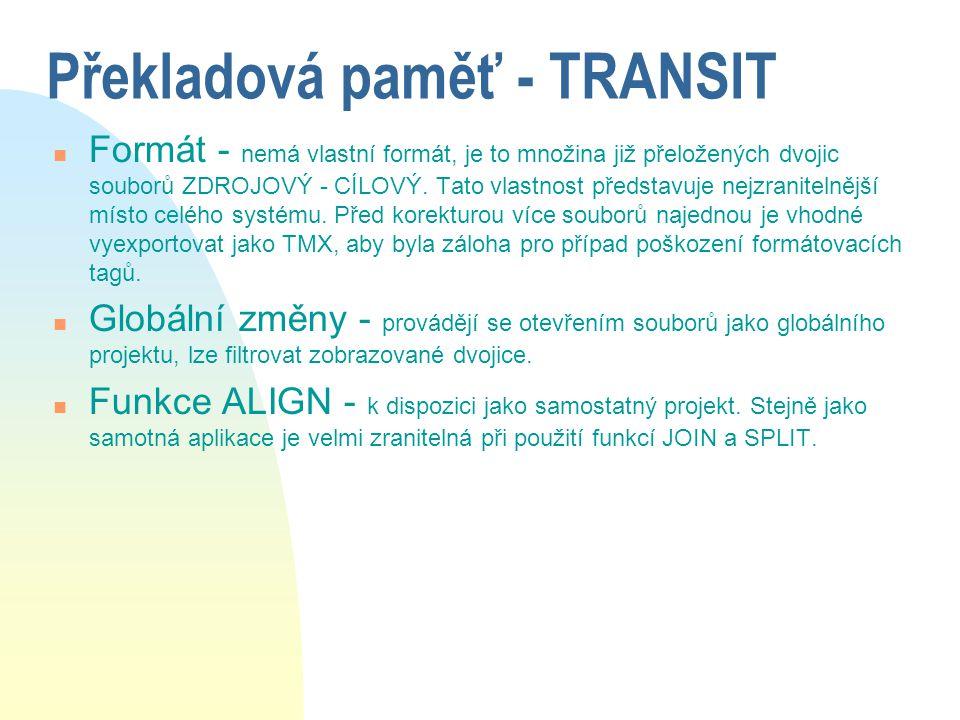 Překladová paměť - TRANSIT